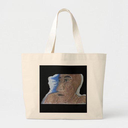 Hombre asustado bolsa tela grande