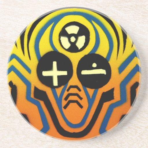 Hombre atómico de la onda acústica posavasos diseño