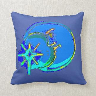 Hombre azul en la almohada de tiro de la luna