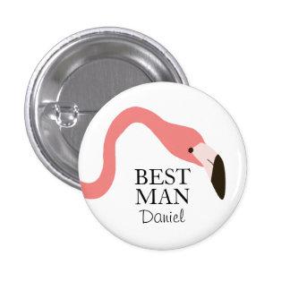 Hombre banal del flamenco rosado mejor pin redondo de 1 pulgada