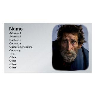 Hombre barbudo sin hogar y desamparado tarjetas de visita