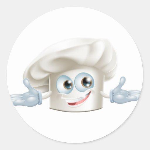 Hombre blanco feliz del dibujo animado del gorra etiquetas redondas