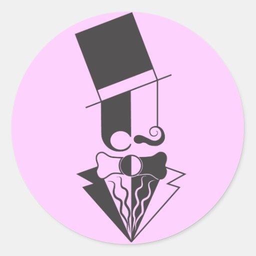 Hombre blanco y negro del sombrero de copa pegatina redonda