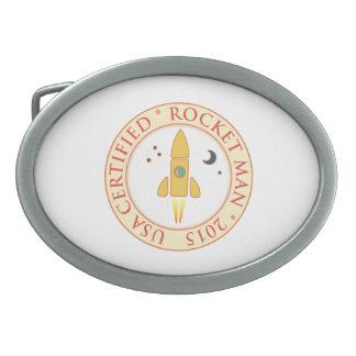 Hombre certificado del cohete hebilla cinturon oval
