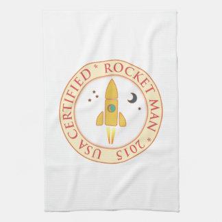Hombre certificado del cohete toallas de mano