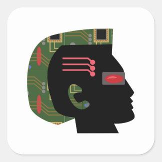 Hombre cibernético pegatina cuadrada