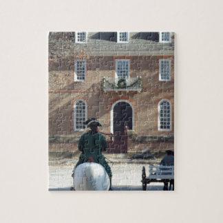 Hombre colonial de Williamsburg en caballo Rompecabezas