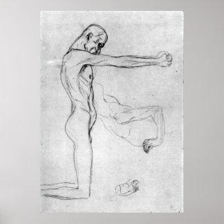 Hombre con con los brazos outstretched de Gustavo  Posters