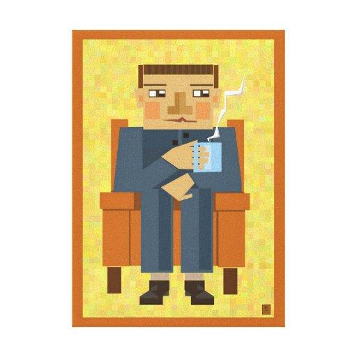Hombre con el café - arte moderno del poster impresiones en lienzo estiradas