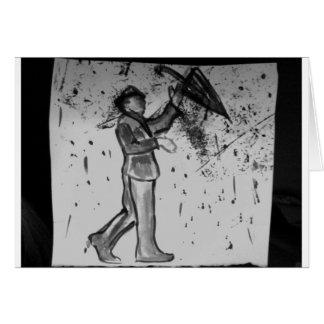 hombre con el paraguas felicitacion