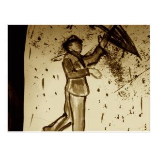 hombre con el paraguas tarjeta postal