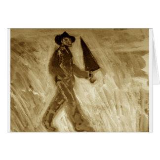 Hombre con el paraguas tarjeton