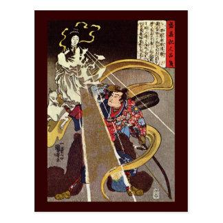 Hombre con la bella arte de Kuniyoshi de la diosa Postal