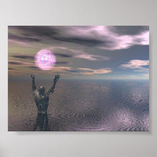 hombre con la bola de la luz posters