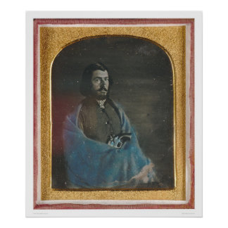 Hombre con la capa azul y revólver (40455) póster