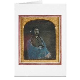 Hombre con la capa azul y revólver (40455) tarjeta de felicitación