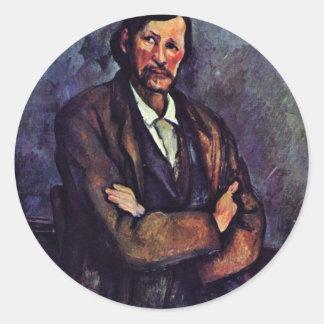 Hombre con los brazos doblados de Paul Cézanne (la Pegatina Redonda