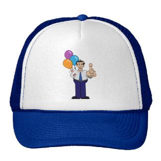 Hombre con los globos gorros bordados