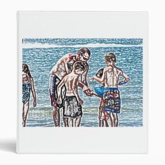 hombre con los niños en bosquejo de la playa