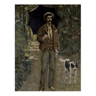 Hombre con un paraguas c 1868-69 tarjeta postal