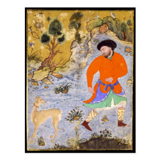 Hombre con un Saluki de Shaykh Mohamed en 1555 Postal