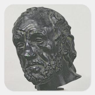 Hombre con una nariz quebrada, 1865 pegatina cuadrada