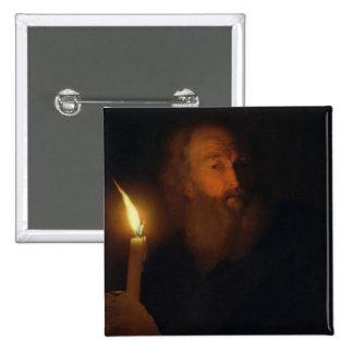 Hombre con una vela pin cuadrada 5 cm