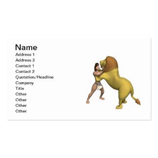 Hombre contra el león tarjeta de negocio