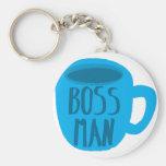 Hombre de Boss con la taza azul Llaveros Personalizados