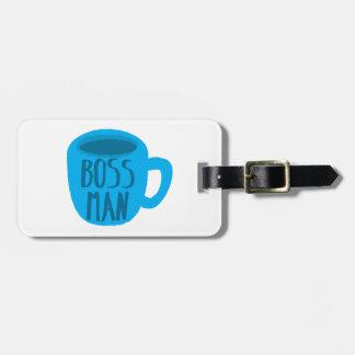Hombre de Boss con la TAZA de café azul Etiqueta De Maleta