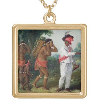 Hombre de color indio del oeste, dirigiendo dos al collares