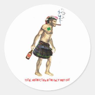 hombre de cueva prehistórico del punk rock pegatina redonda