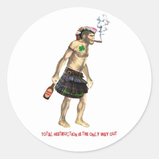 hombre de cueva prehistórico del punk rock pegatinas redondas