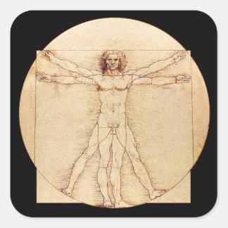 Hombre de da Vinci Vitruvian Pegatina Cuadrada