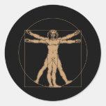 Hombre de da Vinci Vitruvian Pegatina Redonda