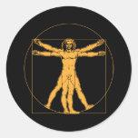 Hombre de da Vinci Vitruvian Pegatinas Redondas