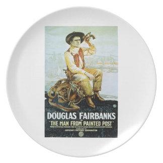 Hombre de Douglas Fairbanks de la película pintada Plato Para Fiesta