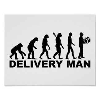 Hombre de entrega de la evolución póster