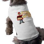 Hombre de entrega de la pizza ropa de perros