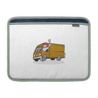 Hombre de entrega que agita conduciendo a Van Funda MacBook