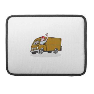 Hombre de entrega que agita conduciendo a Van Funda Para Macbook Pro