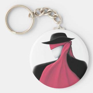 Hombre de Fedora con la bufanda roja Llavero Redondo Tipo Pin