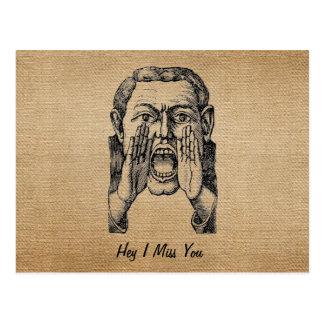Hombre de griterío del vintage de la arpillera le postales