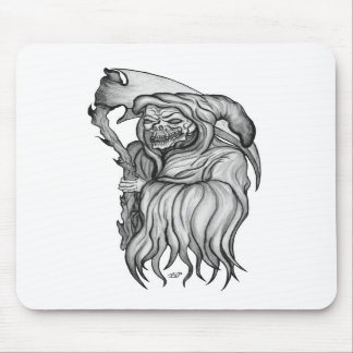 Hombre de guadaña - The Death black and design whi Alfombrilla De Raton