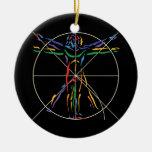 Hombre de la anatomía de DaVinci en los colores de Ornamento Para Arbol De Navidad