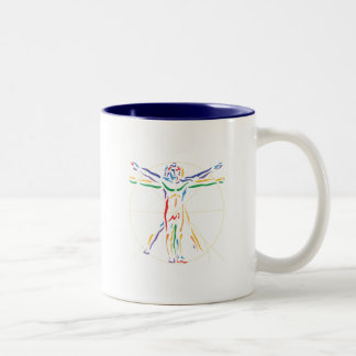 Hombre de la anatomía de DaVinci en los colores de Taza Dos Tonos