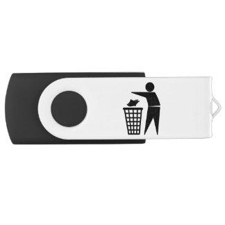 Hombre de la basura que descarga la basura de memoria USB 2.0 giratoria