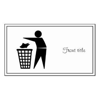 Hombre de la basura que descarga la basura de tarjetas de visita