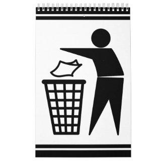 Hombre de la basura que descarga la basura de calendario