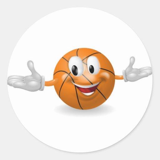 Hombre de la bola de la cesta etiqueta redonda